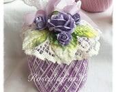 Lavender/White Crochet Spool Thread PUMPKIN Shabby Chic Roses ECS SVFTeam