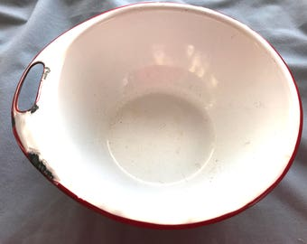 Vintage Red and White Enamelware Bowl with side Handle Primitive Unique Heavy Enamel
