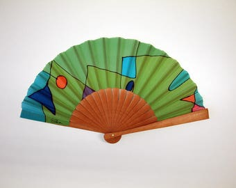 Handpainted Silk hand fan- Wedding hand fan-Abanico- Giveaways-Bridesmaids- Spanish hand fan-Green 14 x 7.5 inches (35 cm x 19 cm)