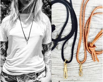 """Soft Genuine leather Lanyard Black or Brown. Adjustable 36"""" choker long Flapper length charm holder. Leather necklace. Bulk Mens jewelry c53"""