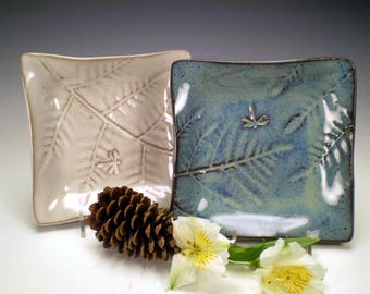"6 1/2"" Square Dragonfly Pottery, Dragonfly Ceramic Dish, Stoneware Pottery, Get Well Gift, Dragonfly Tea Bag Holder, Dragonfly Gift"