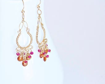 Gold Filled Garnet Sapphire Earrings || Mandarin Garnet Earrings || Hot Pink Sapphire Earrings || Gold Filled Chandelier Earrings