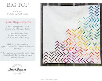 Modern Quilt Pattern - Big Top - PDF