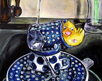 Polish Pottery mug, kitchen dishes , Boleslawiec pottery, Sink still life art series ,kitchen art print, kitchen wall art, Heather Sims