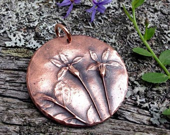 Copper Flower Pendant, Wildflower Nature Jewelry, Botanical Focal Pendant, Gift for Her, Summer Trend, Rustic Flower, Plant Pendant