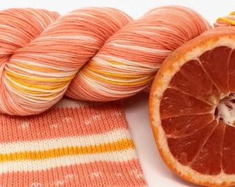 "hand dyed self striping sock yarn - ""Grapefruit"""