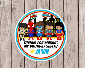 Superhero Birthday Party Favor Tags or Stickers / Batman, Spiderman, Superman and Superwoman / Personalized / Set of 12
