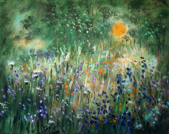 Oil painting  Abstract  18 x 24  Sunny Summer Wildflowers - FREE SHIPPING in US