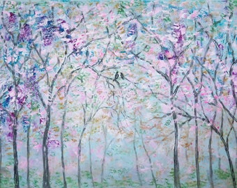 Original painting impressionist - Abstract Cherry trees and love birds - large 48 '