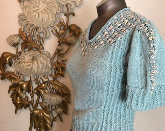 1940s sweater vintage sweater cropped sweater baby blue sweater 1940s separates size medium