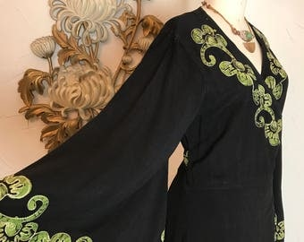 RESeRVED bohemian dress wrap dress batik dress size medium vintage dress bell sleeve dress embroidered dress one size hippie dress
