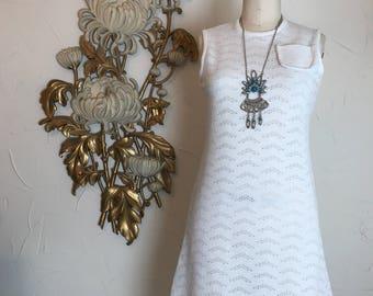 1960s dress vintage dress sleeveless dress toni todd size medium white dress scotter dress shift dress 36 bust a line dress