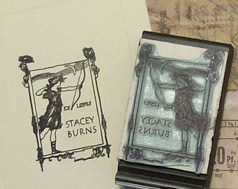Xmas in July Personalized Ex Libris Archeress Rubber Stamp B12