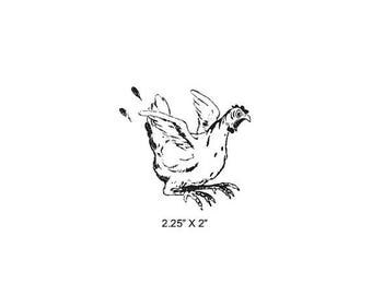 Xmas in July Frightened Chicken Rubber Stamp 481