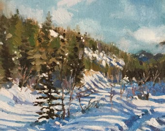 Snowy Creek,  small oil painting, 8 x 10""