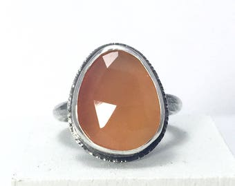 Delicate Carnelian Ring - dainty gemstone ring - gift-for-her - boho gift for mom - orange gemstone ring - gift ideas for her - holiday gift