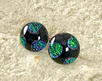 Dichroic Glass Earrings Sterling Silver Post Fittings with Silver Butterfly Backs Sparkling Iridescent Colours - Round 10mm -Gift Box