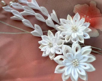 Kanzashi - Snow White - Silk Flower Hair Prong Kanzashi - Made To Order