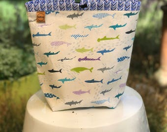 Sock sack/project bag sharks in the water