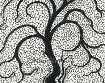 Original Art Tree design Drawing Abstract Nonobjective Black White Monochrome Organic artwork decor