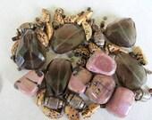 Chunky Smokey Topaz Beads, Pink Rhodonite Beads, Bead Mix, Bead Kit, Necklace Kit, Bead Destash, Gemstone Beads, Moonlilydesigns