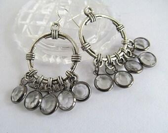 Steampunk Earrings, Bohemian Earrings, Crystal Dangle Earrings, Chandelier Earrings, Channel Crystal Dangles, Boho Jewelry