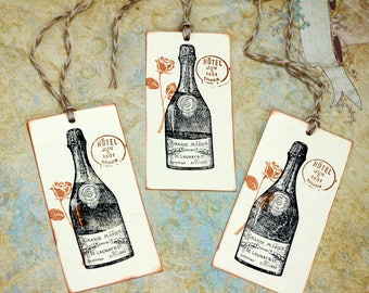 French Champagne Wine Bottle Tags