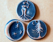 3 Beads in Rustic Midnight - Handmade Ceramic Pendants - Moon over Cedars, Moon, and Venus in Neutral Stoneware with Denim Glaze -