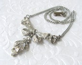 Vintage Rhinestone Pendant Necklace Wedding Jewelry Bridal Formal Ballroom Pageant Prom Downton Gatsby Prom Reign Costume Jewelry Bow MOH