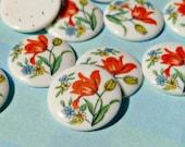 Six Vintage Japanese 13mm Tulip Motif Glass Cabochons (4-41-6)