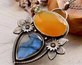 Handmade Silver Labradorite Necklace, Yellow Chalcedony Pendant, Yellow Stone Jewelry, Mango Chalcedony, Artisan Jewelry