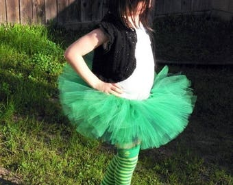 SUMMER SALE 20% OFF Green Irish Tutu for St. Patrick's Day - Little Lass - Custom Sewn Tutu - up to 8'' long - sizes Newborn to 5T