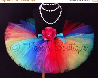 SUMMER SALE 20% OFF Rainbow Tutu, Imagine, A Magical Rainbow Birthday Tutu, Sewn Tutu, 9 Vibrant Colors, Newborn Photo Prop, Tulle Skirt for