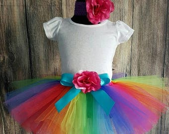 "SUMMER SALE 20% OFF Rainbow Tutu Skirt for Girls, Babies, Toddlers - New Economy Line Tutu - Imagine - 8"" Sewn Tutu - Custom Sewn Tutu - siz"