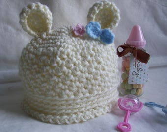 Newborn  Crochet Teddy Bear Hat