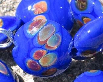 Handmade Glass Lampwork Beads, Royal blue/Raku Lentil