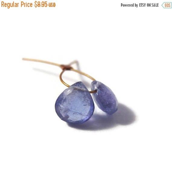Summer SALEabration - Two Tanzanite Beads, Natural Gemstones, 2 Tanzanite Gemstone Briolettes, Top Drilled Stones, 5x5mm - 6x6mm (Luxe-Ta1b)