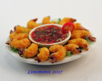 12th scale handmade miniature Breaded Prawn Tails and Salsa Dip