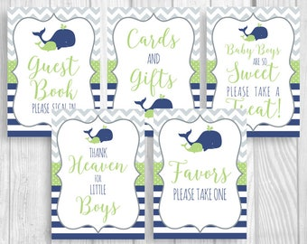 Boy's Whale Baby Shower 5x7 Printable Sign Bundle - Guest Book, Gift Table, Favor Table and More - Navy Blue, Green, Gray, Instant Download