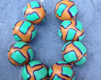 Set of Gold Purple and Green Round Shaped Beads Handmade Polymer Clay Artisan Jewelry Supplies