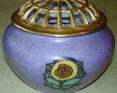 Vintage Flower Frog Pansy Bulb Shaped Vase - China Gold Flower Frog Top w Purple Bulb Shaped Vase - Gorgeous!