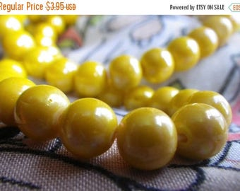 SALE 30% Off Vintage Opaque Yellow Glass Luster Beads 8mm Rounds 50 Pcs