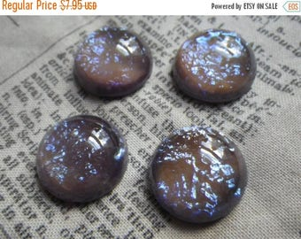 SALE 20% Off Tanzanite Opal with Dragons Breath 18mm Round Glass Cabochons 2 Pc