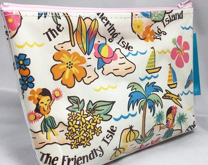 Make Up Bag - Hawaiian Islands Zipper Pouch