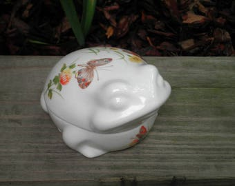 Vintage Frog Ceramic Jewelry Box - Dew Pattern Jewelry Storage / Holder / Trinket Box - Woodland Toad & Butterfly Retro Home Decor Boho Gift