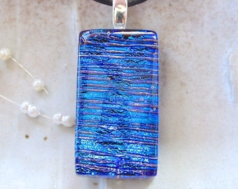 Blue Necklace, Dichroic Glass Pendant, Necklace, Fused Jewelry, Necklace Included, A7