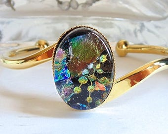 Gold Plated Dichroic Glass Cuff Bracelet