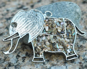Vintage Elephant Pendant ~ Pewter and Shell ~ Heavy Duty ~ 55x82mm