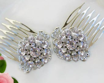 2 Small Hair clips, Bridesmaids gift, crystal hair clips, small barrettes, bridesmaid hair comb, bridesmaid hair clip, small hair flower
