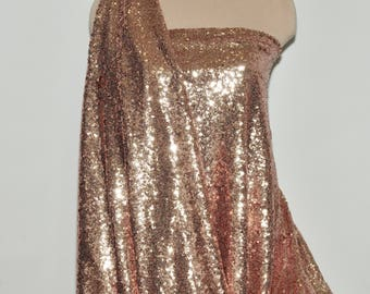 "Sewn on Sequin fabric 58"" Rose/ Gold   .. stretches across the grain ..great for costumes, dance, theater, formal wear, pageant"